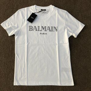 "Balmain Men Black Printed Logo White T-Shirt ""L"""